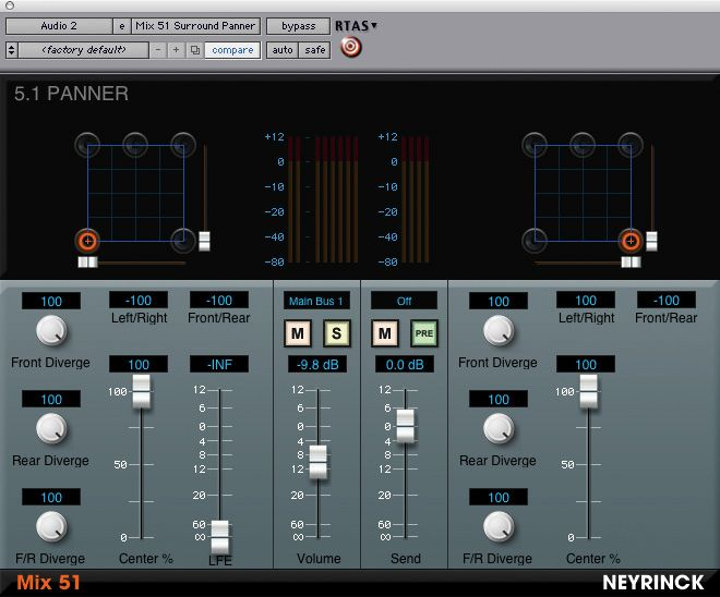 Neyrinck Mix 51 Surround Panning v1.1 RTAS Plug-in For Pro Tools WORKING