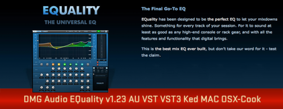 DMG Audio EQuality v1.23 AU VST VST3 Ked MAC OSX-Cook